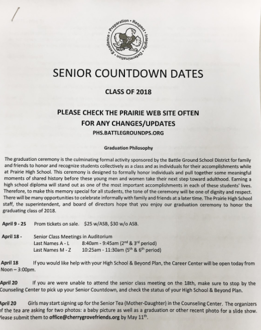 Senior Meeting and Countdown