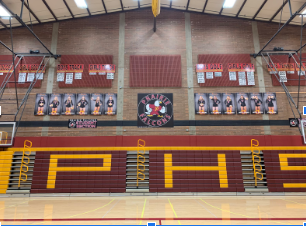 The Falcon's home court has banners hung in recognition of all the volleyball players.