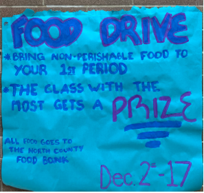 An informational poster about the food drive